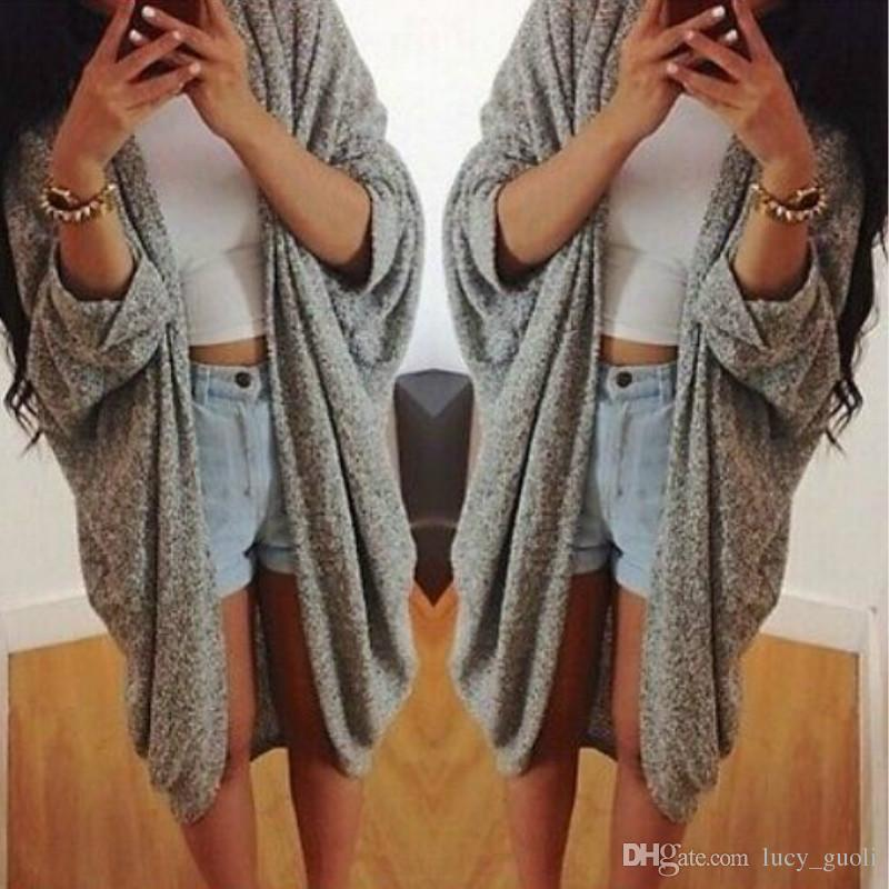 d4530c94e6ed 2019 Batwing Sleeve Knitted Cardigan Coat Women Fashion Oversized Tops  Dimensions Open Coat Jacket Grey Autumn Winter Warm Long Sweater Jumpers  From ...
