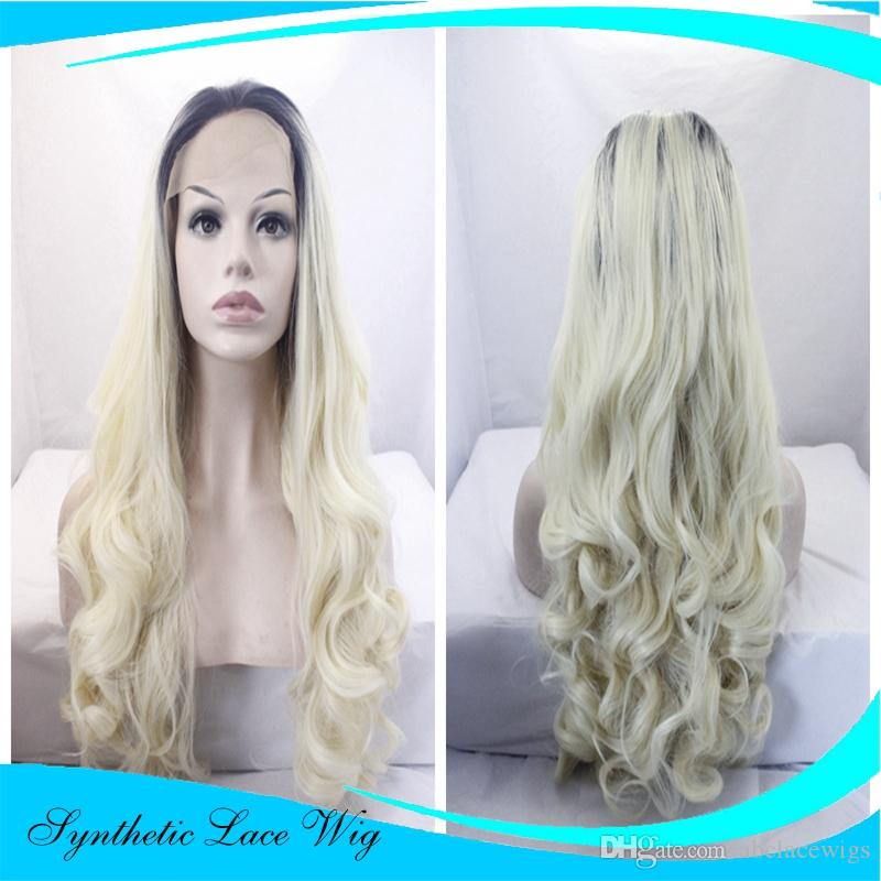 Dark Rooted Light Blonde Lace Front Wigs For Women Best Synthetic Hair Wavy  Wig With Flawless Hairline 24 Inches Heat Safe Lace Wig Uk Janet Collection  ... 8eb3146a68