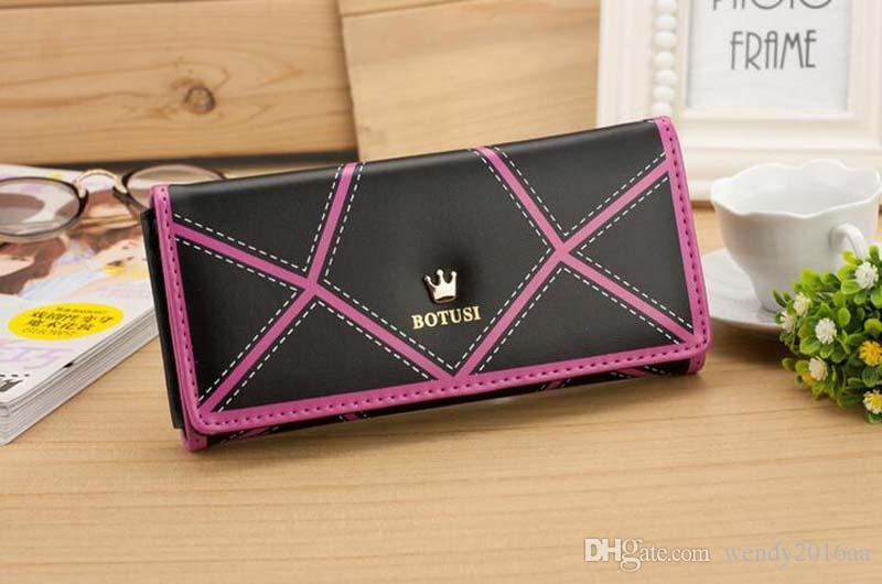 2017 metal crown women wallets Lingge Cross Stitch Bouguer number clutch wallet