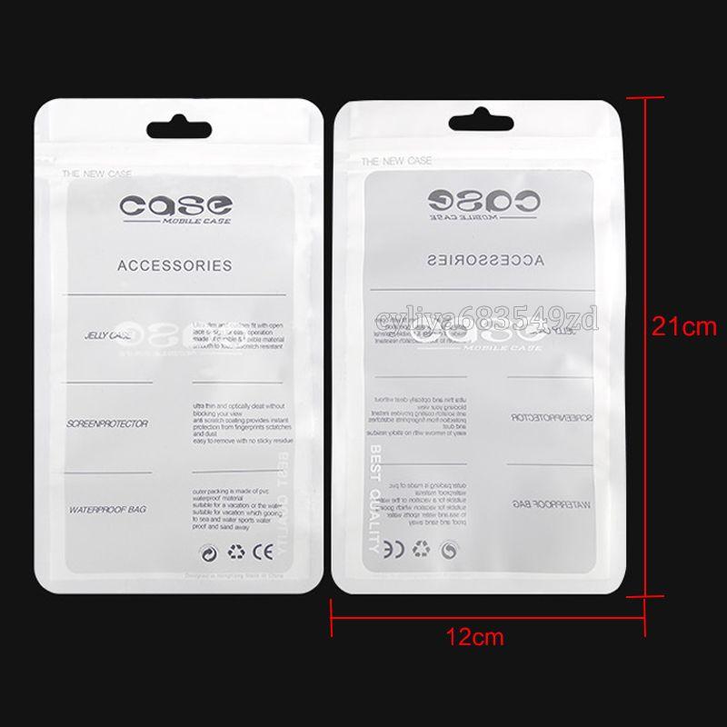 12 * 21cm beyaz Zip kilit Cep telefonu aksesuarları durumda kulaklık alışveriş ambalaj torbası OPP PP, PVC Poly plastik ambalaj torba