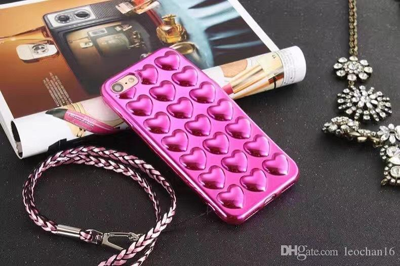 3D Glitter Love Heart Electroplating Strap Lanyard Back Cover Case Soft Electroplated Protector Shell for Apple iPhone 4.7'' 5.5''