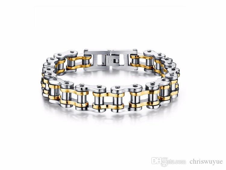 Moda squisito oro argento placcato nero uomini braccialetto catena di moto ad alta lucido acciaio inossidabile gioielli motociclista MB70