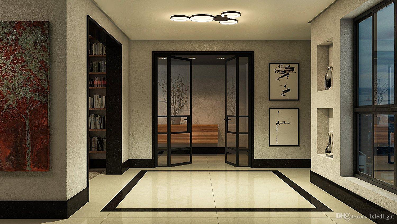 "lxledlight Modern 43"" Led Ceiling Light, Modern Multi-Ring Ceiling Fixture, Capella Collection, Black"