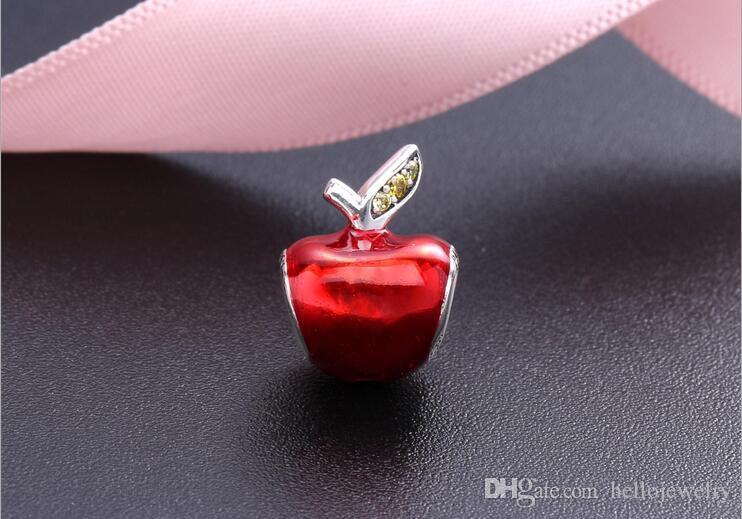 Fit For Pandora Bracelet Neige Blanche De Noël Apple Charme Avec Émail Rouge Et Vert CZ DIY Perle Charme 925 Bijoux En Argent Sterling
