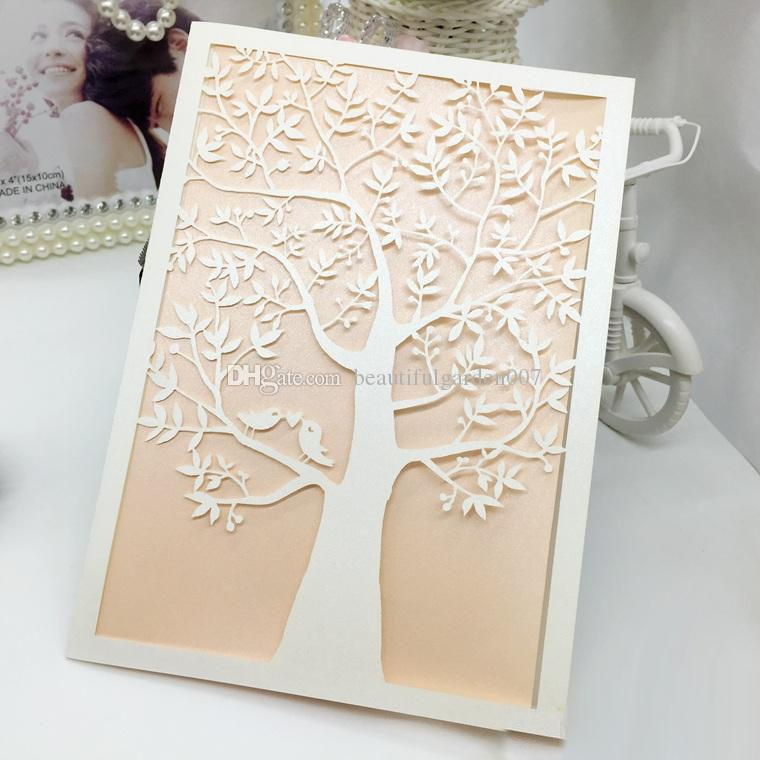 wedding invitations laser cut wedding invitations love tree wedding party invitations sets blank inside page with white envelope sticker funny birthday - Laser Cut Tree Wedding Invitations