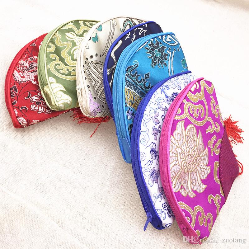 Quaste Reißverschluss kleine Geldbeutel-Geschenk-Beutel Chinese Silk Brocade Frauen Make-up kosmetische Verpackung Beutel Vintage Blumenfächerförmige Münze Phone Wallet