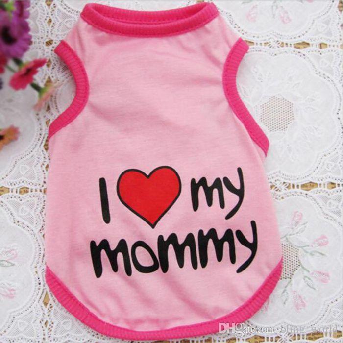 Pet Vest Puppy Cotton Sportswear Summer Dog Apparel I Love My Daddy / Mommy Cotton Pet Clothes Dog Supplies YW130
