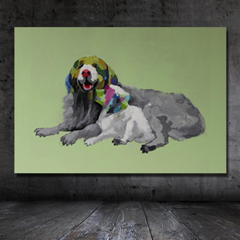 hand drawing pet dog and women sex oil painting for wholesale Home Decor Wall Painting Art