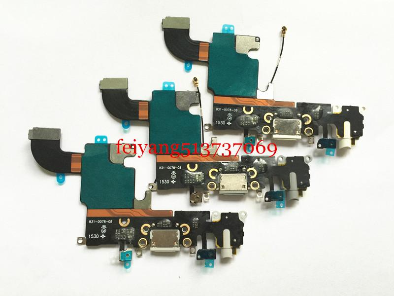 1 unids 100% de trabajo para iPhone 6s 4.7 puerto de carga cargador conector dock cable flex cable con auriculares Audio Jack
