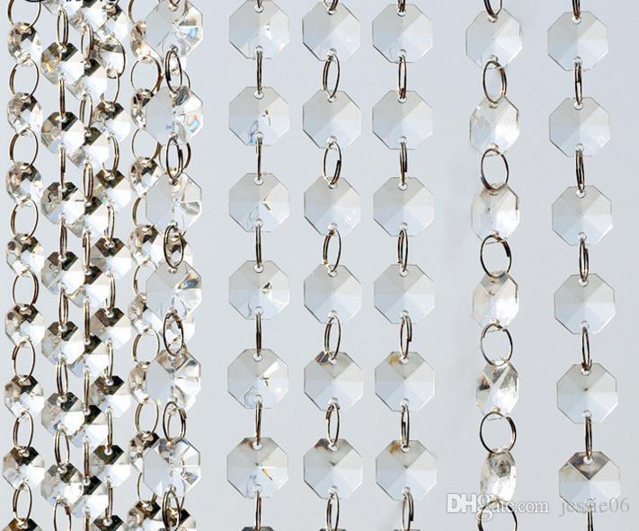 14mm Crystal Clear Acrílico Pendurado Beads Cadeia anel prateado Guirlanda Cortina Lustre de casamento do partido XMAS Decoração da árvore de suprimentos de eventos