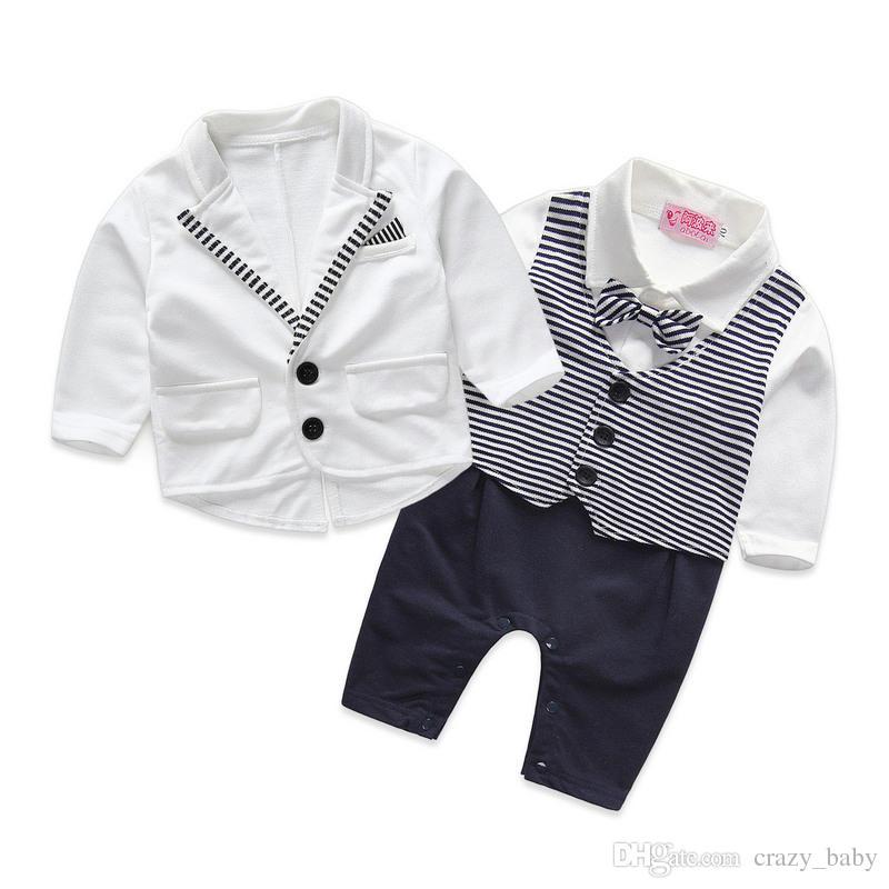 2 teile / satz Baby Boy Kleinkind Kleidung Krawatte Gentleman Mantel + Strampler Kinder Body Anzug