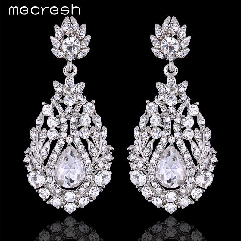 Mecresh Big Teardrop Crystal Long Pendantes Earrings Silver Color Boucle  D oreille Party Wedding Jewelry for Women MEH729 High Quality Jewelry China  Jewelry ... 2708303307e6