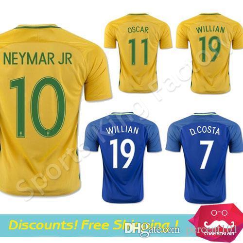 brazil soccer jersey 2016 2017 camisa de futebol brasil yellow blue football shirt 10 neymar 11