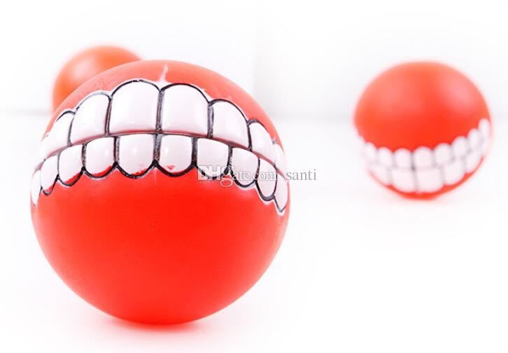 New Pet Puppy Dog Funny Ball Teeth Silicon Toy Chew Sound Dogs Play Toys