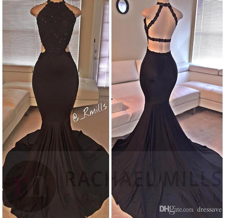 e4d7b6595d2 2018 New Elegant Black Lace Sequins Mermaid Prom Gown With Jewel Sleeveless  Open Back Sweep Train Long Formal Gowns Evening Dresses Couture Green Prom  Dress ...