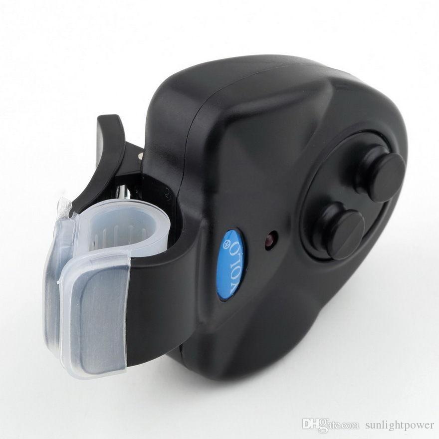 BlacK Alarme de pêche universelle Alarme électronique Morsure de poisson Finder Alerte sonore Alarme LED Clip sur canne à pêche