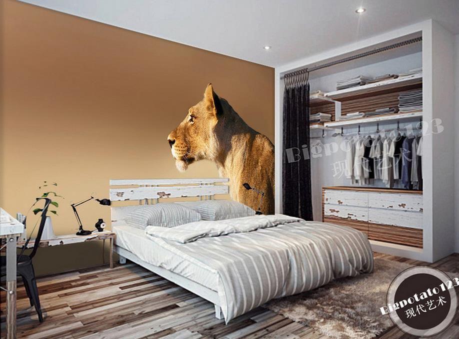 Custom 3d Mural Wallpaper Desert Standing African Wild Male Lion
