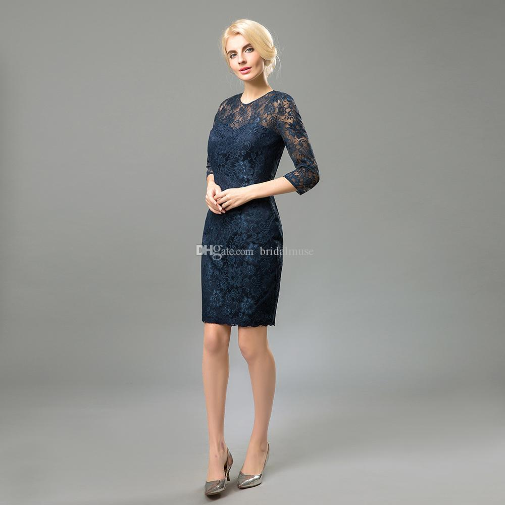 Lace Mother Of The Bride Dresses Long Sleeves Knee Length Dark