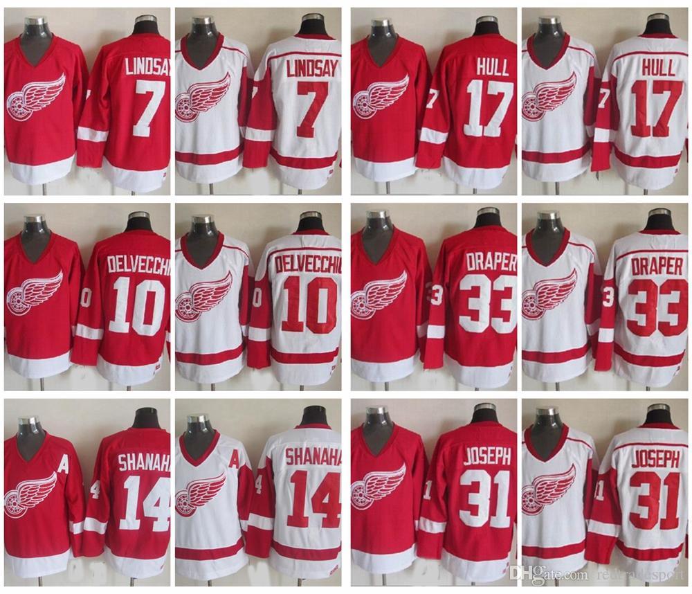 0d58e431 2019 Vintage Detroit Red Wings 7 Ted Lindsay 10 Alex Delvecchio 33 Kris  Draper 31 Curtis Joseph 14 Brendan Shanahan 17 Hull Hockey Jersey From  Redtradesport ...
