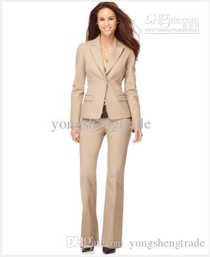 Beige Women Suit Custom Tailor Suit Single Button Notched Collar Flap Pockets