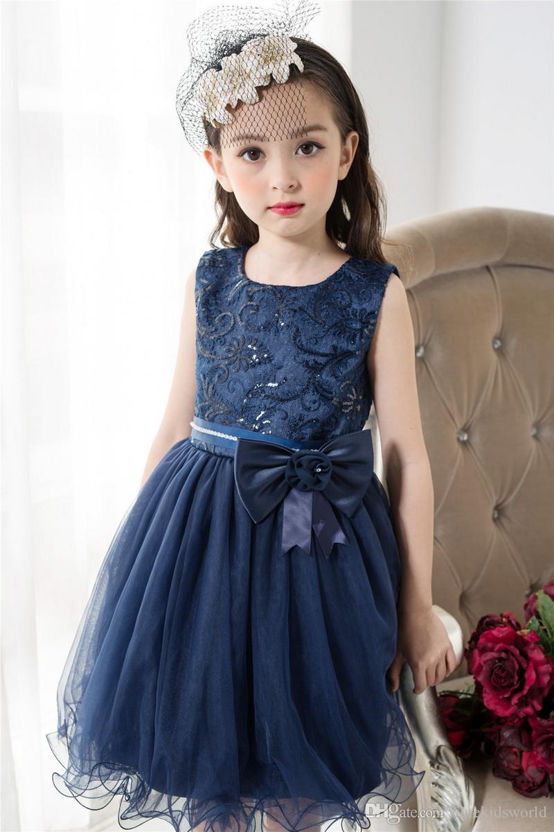 Compre Vestidos De Niñas Para Fiesta Y Boda 2017 Azul Marino De Encaje Niña De Flores Princesa Disfraz Con Lentejuelas Vestido De Los Niños A 2915