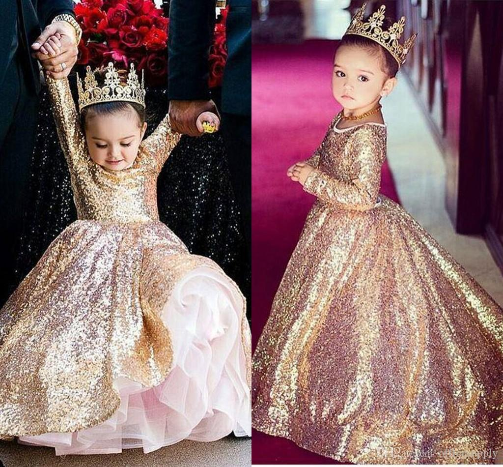 a84ee1facfc83 Sparkly Gold Sequined Little Princess Long Sleeves Girls Pageant Dress  Vintage Party Flower Girl Pretty Dress For Little Toddler Kid