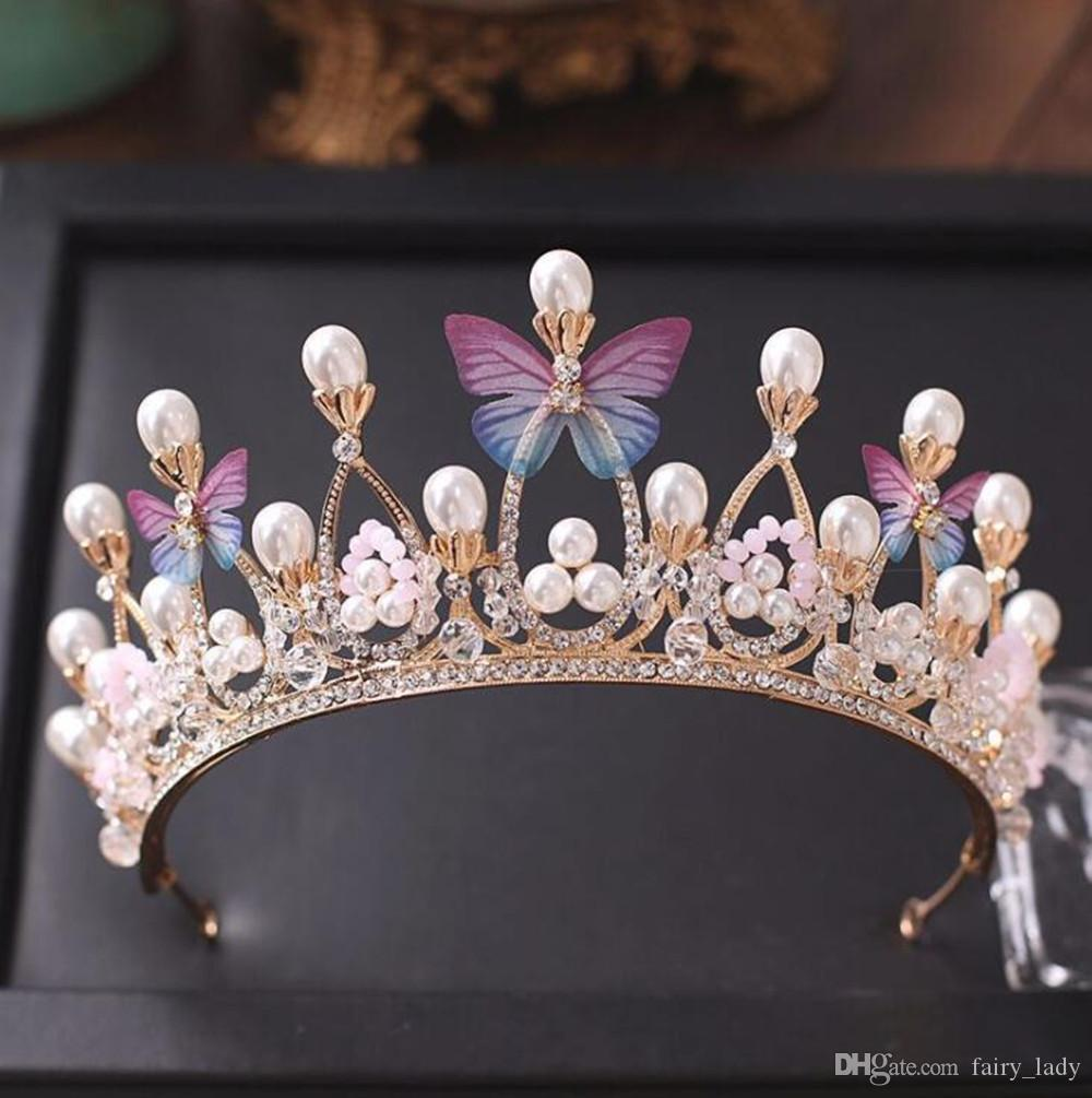 Princess Gold Color Wedding Crowns and Tiaras 2018 Pearls Crystal Beads Butterflies Women Hair Headpieces Bridal Jewelry Party