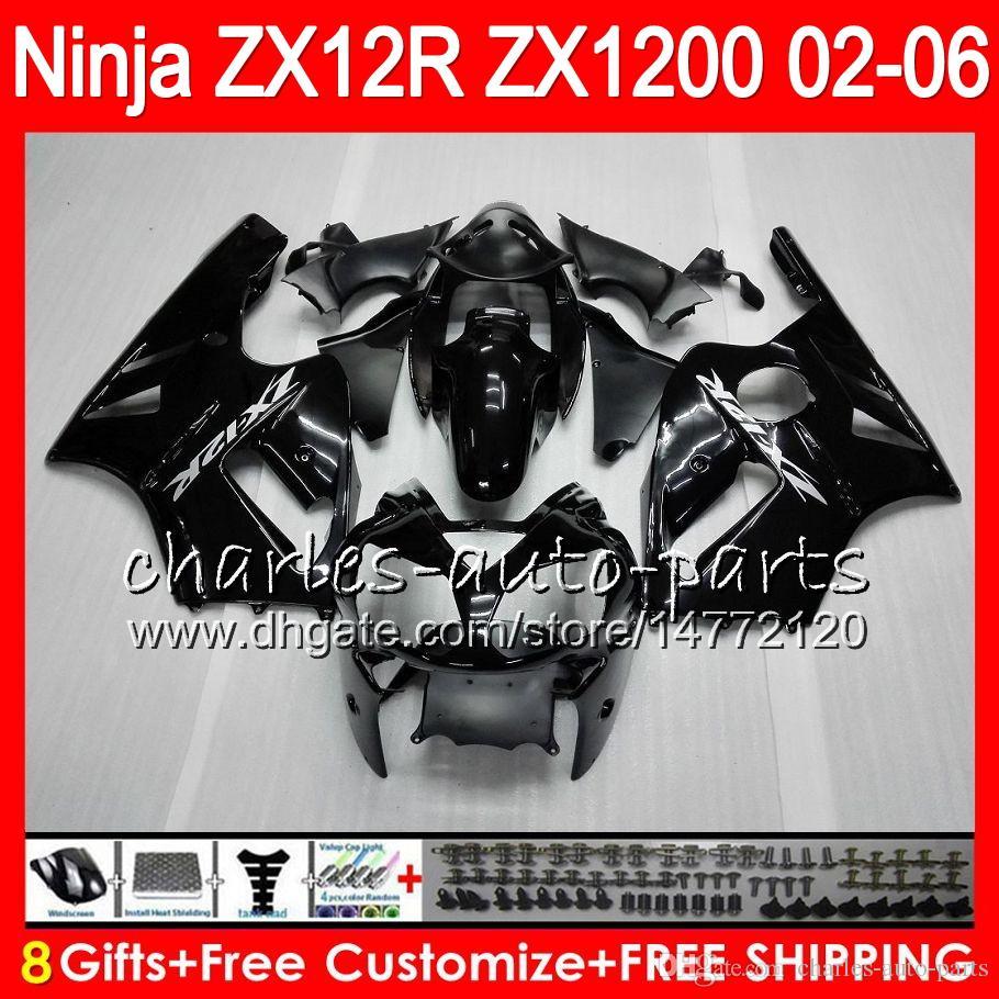 8Gifts KAWASAKI NINJA ZX 12 R ZX12R 03 04 05 06 52HM1 nero lucido ZX1200 C ZX 1200 ZX 12R ZX-12R 2003 2004 2005 2006 Carena