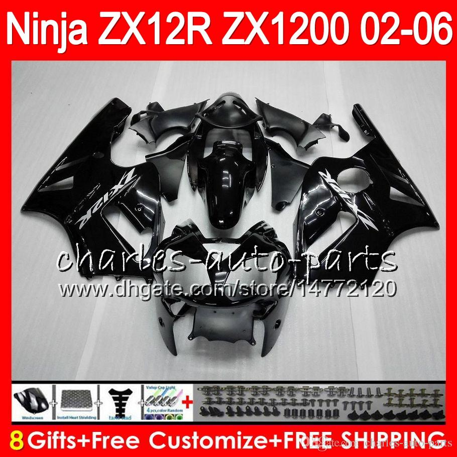 8Presentes 23Cores Para KAWASAKI NINJA ZX 12 R ZX12R 03 04 05 06 52HM1 preto brilhante ZX1200 C ZX 1200 ZX 12R ZX-12R 2003 2004 2005 2006 Carenagem
