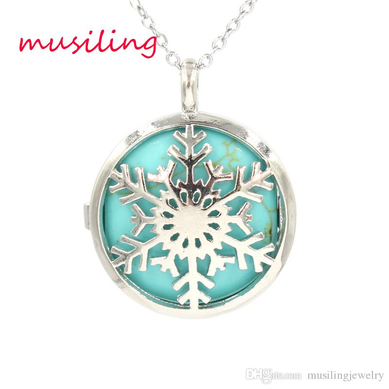 Openwork Snowflake Locket Pendants Necklace Natural Gem Stone Pendant Turquoise Lapis Lazuli etc Stone Bead Charms Fashion Jewelry for Women