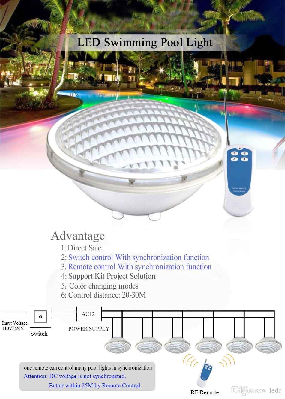 RGB Par56 LED Luzes Da Piscina Lâmpada 12 V 18 W 24 W 35 W 12 Volt IP68 Luzes Subaquáticas À Prova D 'Água para a Fonte Paisagem Lagoa Artificial Cachoeira CE