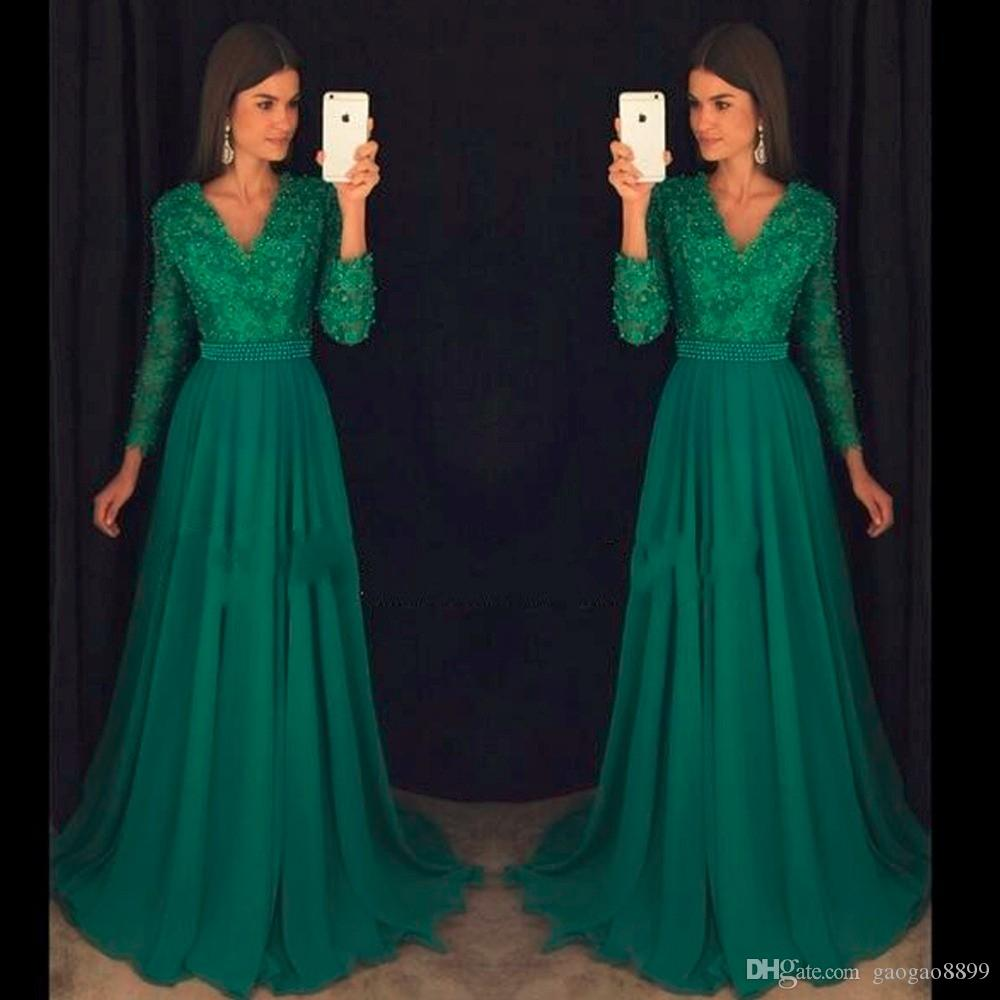 2019 Emerald Elegant Abendkleider long sleeve Prom Dress Party Vintage Chiffon beaded modest evening formal gowns wear