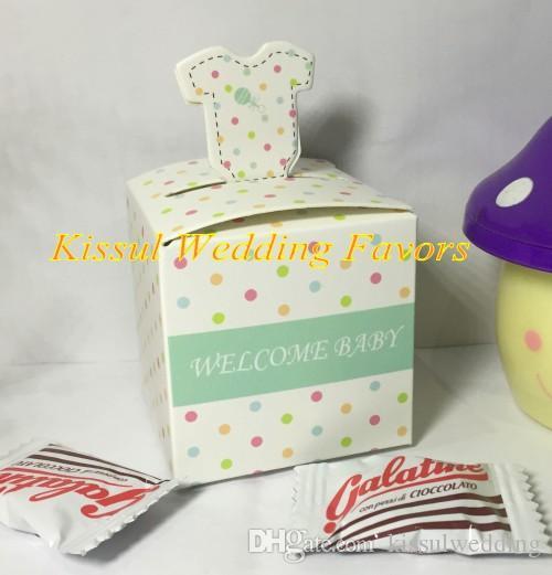/  2017 Neueste reizend gepunkteten layette Baby Shower Party Favor für Baby-Geburtstag-Geschenk-Box und Baby Andenken Pralinenschachtel