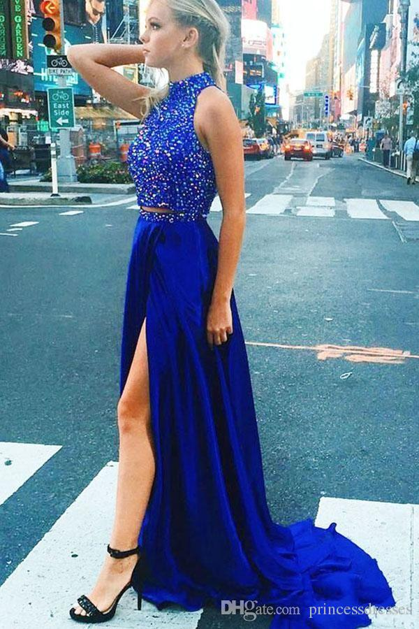 2017 Newest Royal Blue Two Pieces Prom Dresses Halter Sleeveless Beaded Backless Side Split Party Dresses Evening Wear With Sash Custom Made