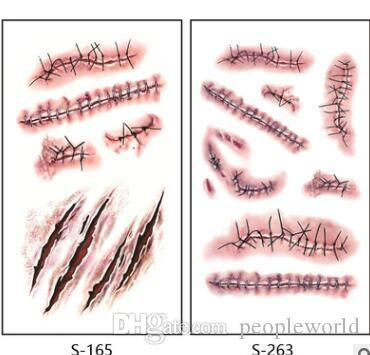 Halloween Scratch Wound Scab Blood Scar Tattoos Temporary Tattoo Sticker Cosplay Wound Zombie Scars Halloween Party