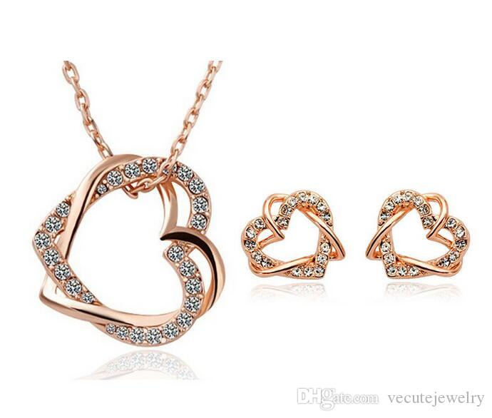 Wholesale Price Gold Silver Plated Heart Austrian Crystal Necklace Earrings Jewelry Sets made With Swarovski Elements for Women Bridal Sets