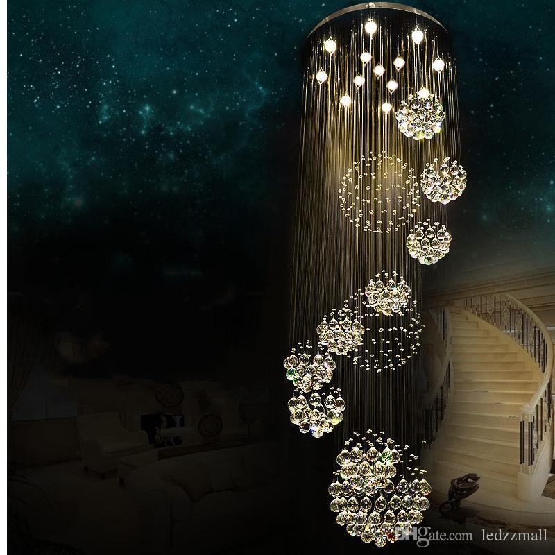 Elegant Großhandel Moderne Kronleuchter Große Kristall Lichtleuchte Für Lobby  Treppenhaus Treppen Foyer Lange Spirale Glanz Decke Lampe Flush Mounted  Treppenlicht ...