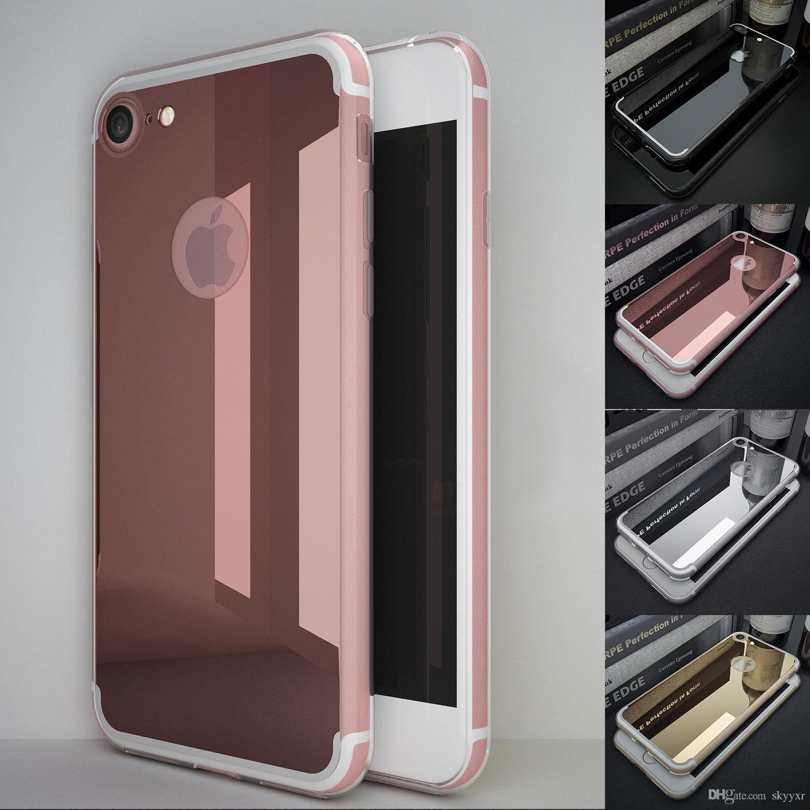pretty nice 3b5a5 dce94 New Mirror Back Cover With Rubber Crystal Clear Bumper Case Cover For  iPhone 7 Plus 6 6S 5 5S SE