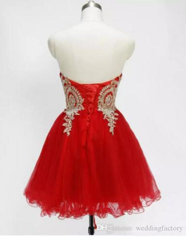 Cristaux perlés dentelle dentelle dentelle courte accueil robes de retour chéri Sweetheart sans manches à lacets rouge rouge blanc rose rose royal royal bleu robe