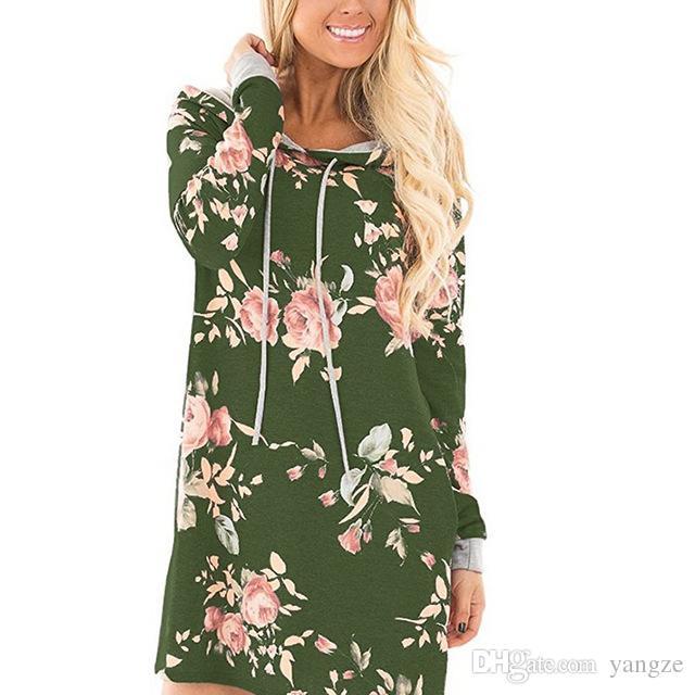 Женская мода одежда новая Осень Зима длинные толстовки кофты с цветочным принтом толстовка пуловер платья RF0117