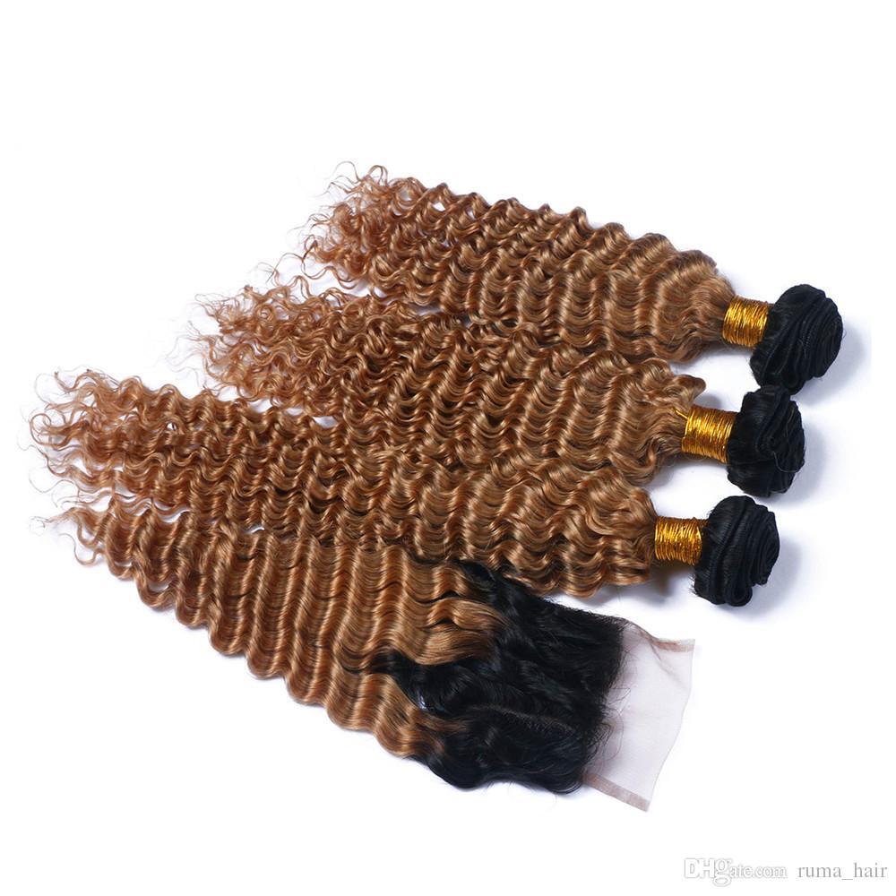 Темные корни Медовая блондинка Ombre Кружевная застежка с пучками Двухцветная 1B 27 Глубокая волна Вьющиеся перуанские девственные человеческие волосы с застежкой