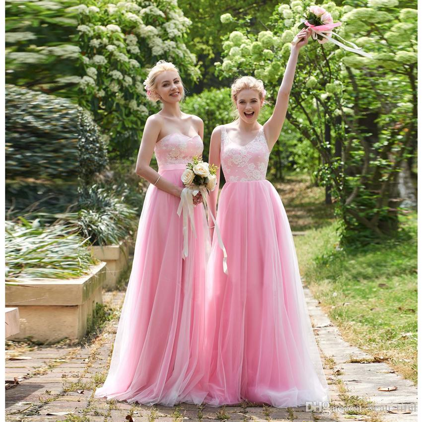 9a1f0fe99fa Lovely Blush Pink Bridesmaid Dresses 2 Styles Floor Length V Neck A Line  Lace Tulle Bridesmaid Dresses 2018 Party Dresses Plus Size Dresses From  Beau tiful