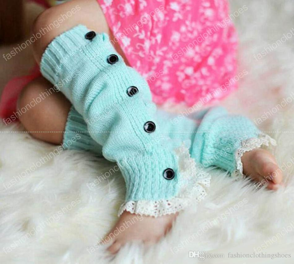 Lace Crochet Boot Cuffs Ballet Knit Leg Warmers Baby Buttons Trim Boot Cuff Christmas Leg Warmers Boot Socks Covers Knee High Socks