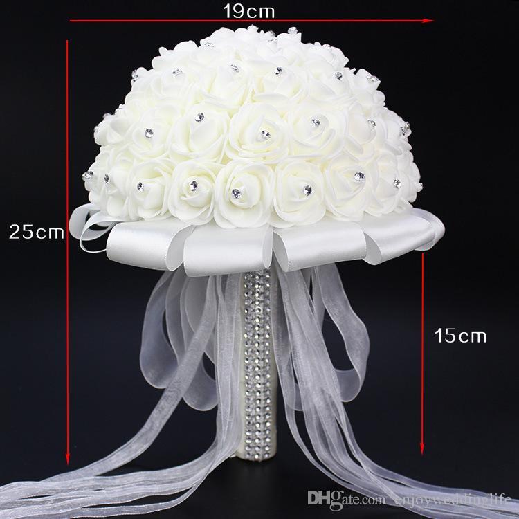 2017 heiße Verkäufe Rose Künstliche Braut Blumen Braut Bouquet Hochzeit Bouquet Kristall Elfenbein Seidenband Neue Buque De Noiva Günstige CPA818