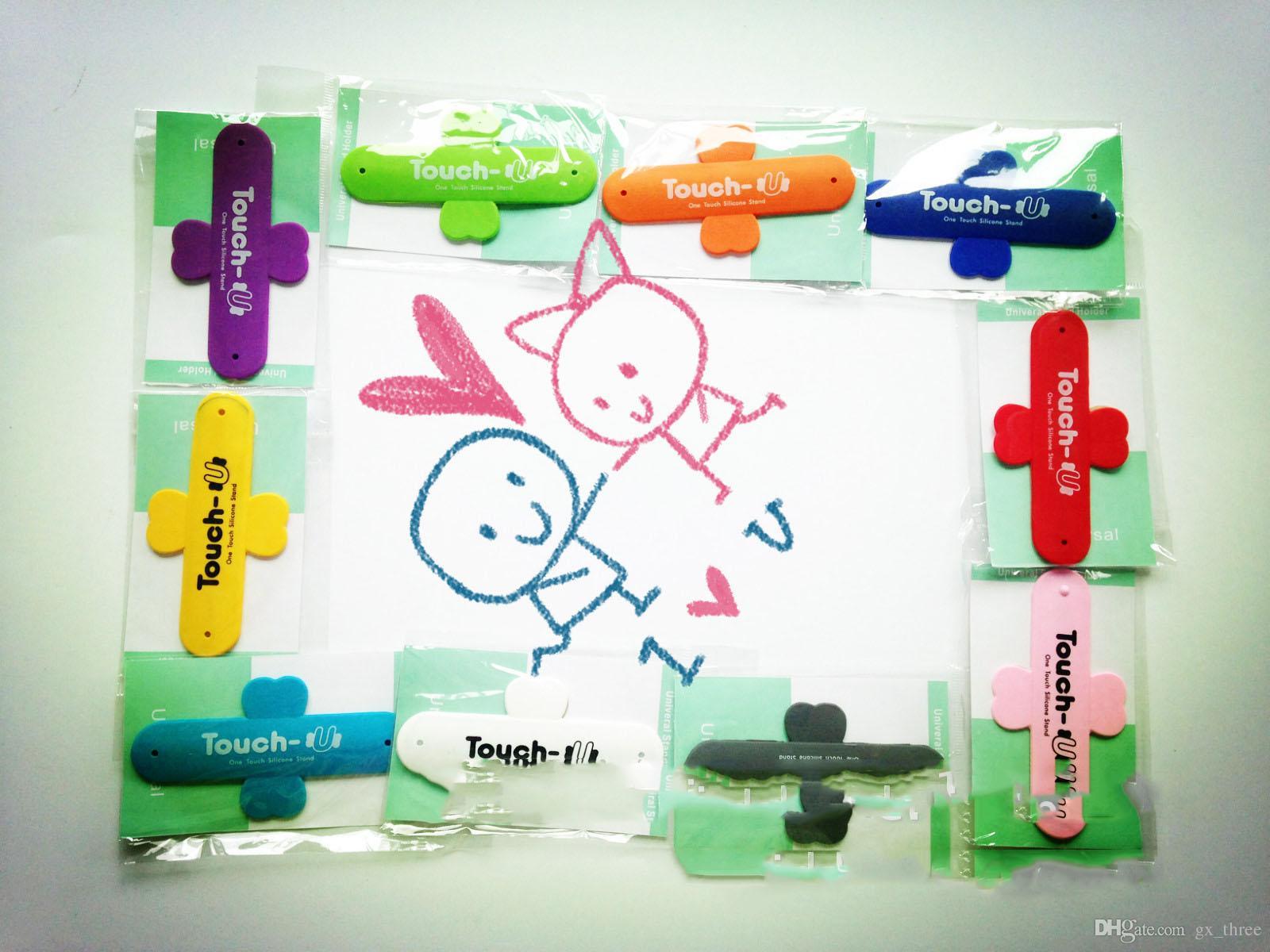 Meistverkaufte Touch U Silikon Ständer Fingerringe Halter POPS Schmetterling Paste Handyhalterungen für iPhone Samsung Handys Tablets