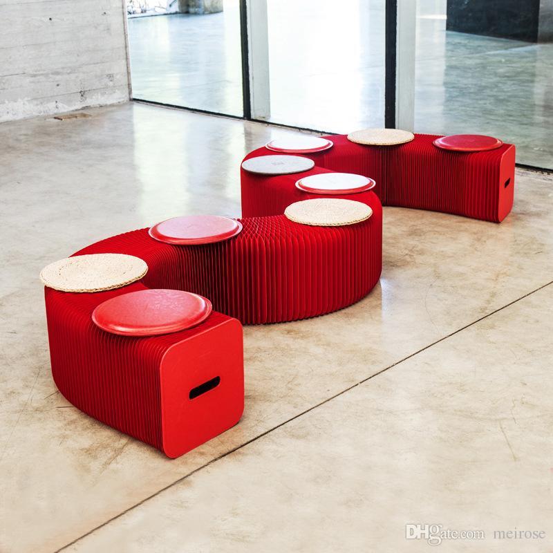 Roman Yenilik Mobilya Pop - 9 Koltuklar 71-104 İçin Akıllı Bench Kapalı Evrensel Su geçirmez Akordeon Stil H42xL600cm Katlanabilir Kraft Koltuk