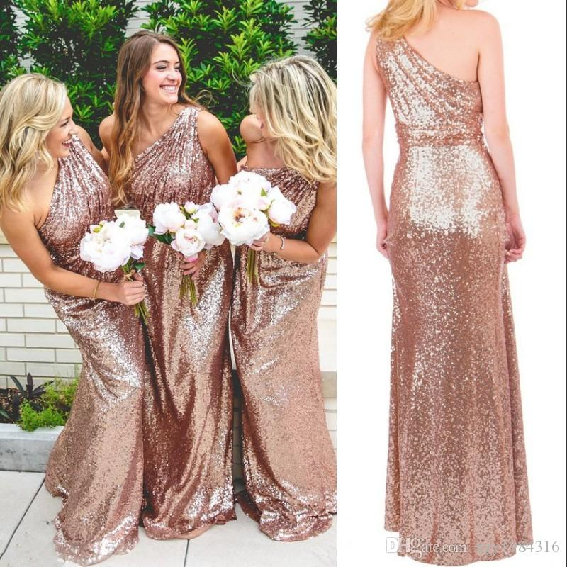 a8ff30b6bd92 Sparkling Rose Gold Sequins Bridesmaid Dress Fashion One Shoulder  Sleeveless Elegant Long Wedding Party Gowns 2017 New Sexy Prom Dress Cheap