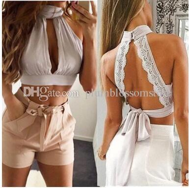 9638033b67e921 Fashoin tanks shirt backless lace bow pink white black jpg 387x382 White  halter backless tops