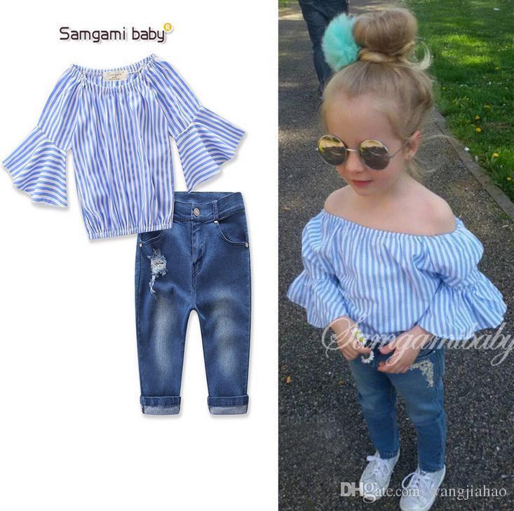 c62ebfcb4bad 2018 Christmas INS Kids Clothing Sets Top Shirt+Denim Pant Set Ins ...