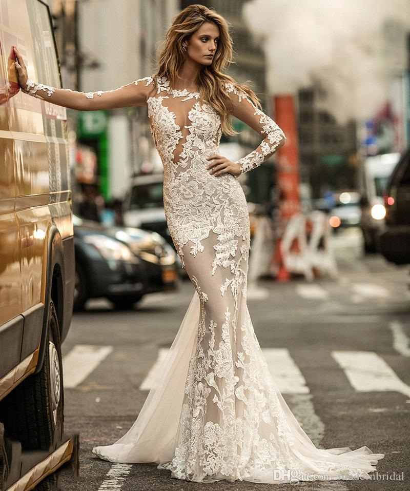 2017 Berta Bridal Long Sleeve Lace Mermaid Wedding Dresses Illusion Jewel  Neckline Heavily Embellished Chapel Train Wedding Gowns Off The Rack Wedding  ... 2cf6f88a7705
